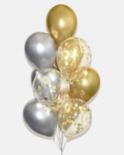 Chrome Gold, Silver and Gold Confetti Balloon Bouquet