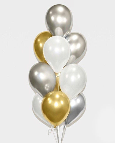 Chrome Gold, Silver and White Balloon Bouquet