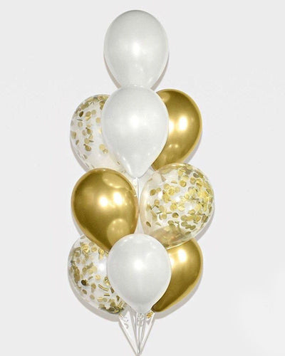 Chrome Gold, White and Gold Confetti Balloon Bouquet
