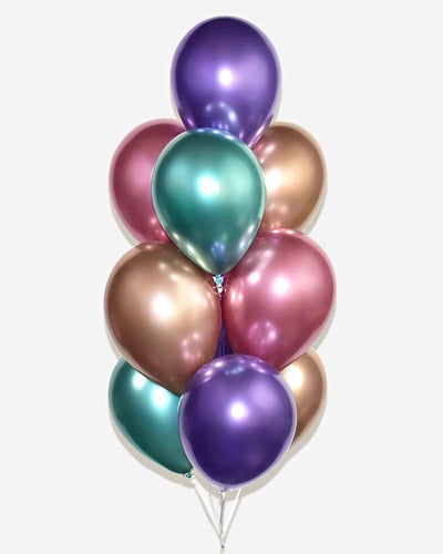 Chrome Pink, Purple, Green and Copper Balloon Bouquet