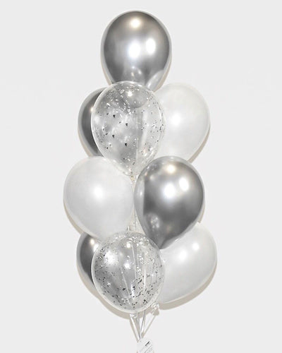Chrome Silver, White and Silver Confetti Balloon Bouquet