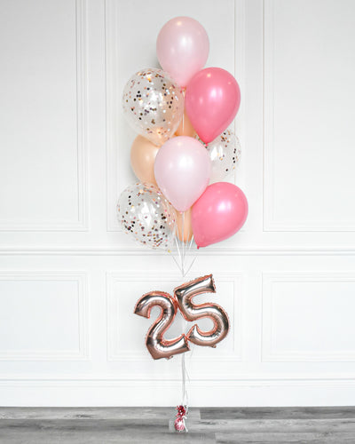 "Confetti Balloon Bouquet With 16"" Number - Candy Pink, Pastel Pink,  Blush"