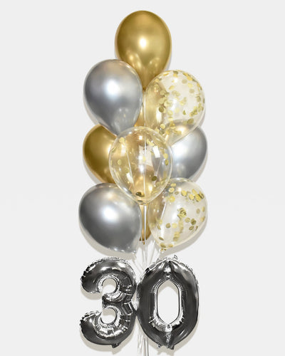 "Confetti Balloon Bouquet With 16"" Number - Chrome Gold, Silver"