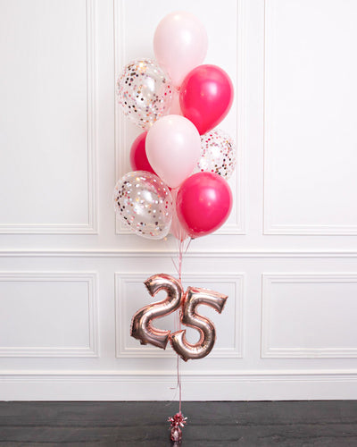 "Confetti Balloon Bouquet With 16"" Number - Fuchsia, Pastel Pink"