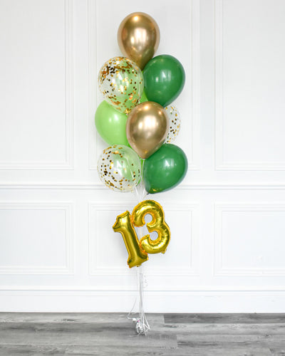 "Confetti Balloon Bouquet With 16"" Number - Green, Lime Green, Chrome Gold"