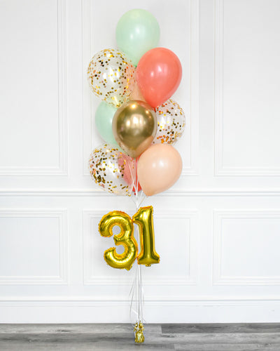"Confetti Balloon Bouquet With 16"" Number - Mint, Coral, Blush, Chrome Gold"