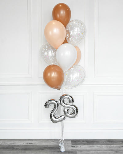 "Confetti Balloon Bouquet With 16"" Number - Mocha Brown, White,  Blush"