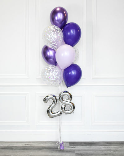 "Confetti Balloon Bouquet With 16"" Number - Chrome Purple, Pastel Lilac, Purple"