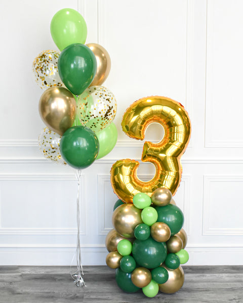 Confetti Balloon Bouquet and Number Balloon Column - Green, Lime Green, Chrome Gold