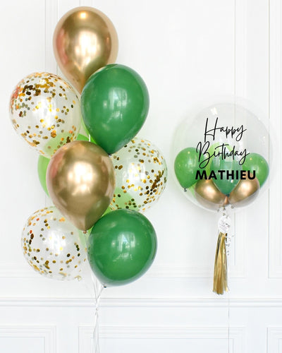 Confetti Balloon Bouquet and Personalized Bubble Balloon - Green, Lime Green, Chrome Gold