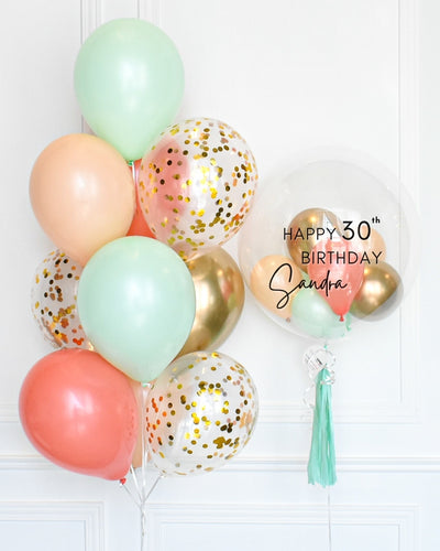 Confetti Balloon Bouquet and Personalized Bubble Balloon - Mint, Coral, Blush, Chrome Gold