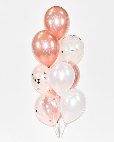Confetti Birthday Balloon Bouquet - Rose Gold, White