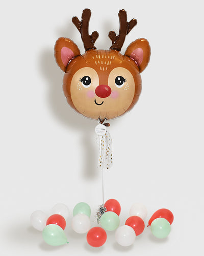 Red Nose Reindeer Foil Balloon With Tassel