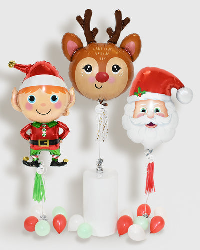 Red Nose Reindeer, Santa Claus and Elf Foil Balloon Bundle