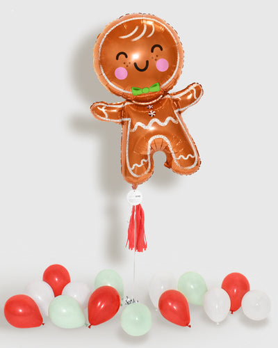 Gingerbread Man Foil Balloon With Tassel