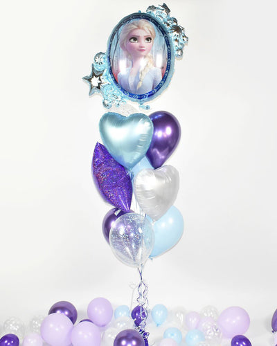 Frozen Confetti Balloon Bouquet - Purple, Blue, White