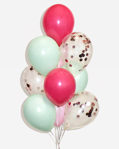 Fuchsia, Mint and Rose Gold Confetti Balloon Bouquet