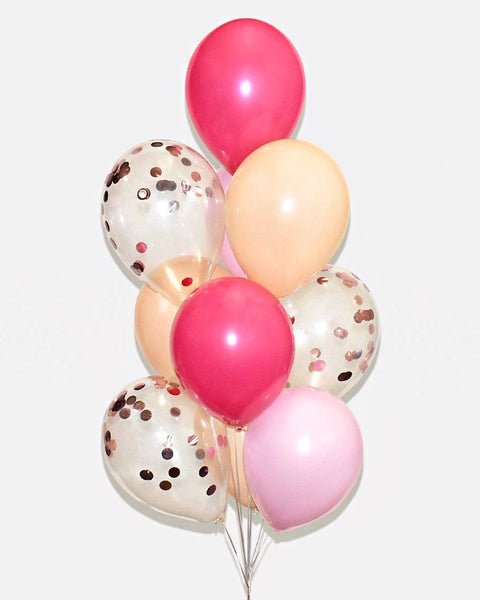 Fuchsia, Pink, Nude Blush and Rose Gold Confetti Balloon Bouquet