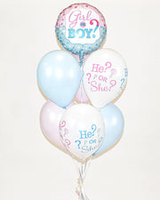 Gender Reveal Balloon Bouquet - Pink, Blue, White
