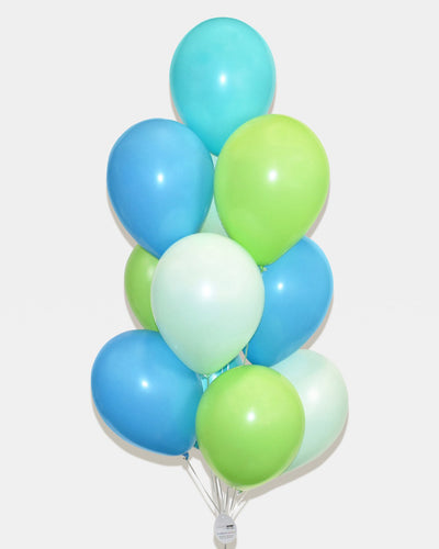 Green, Teal and Carribean Blue Balloon Bouquet