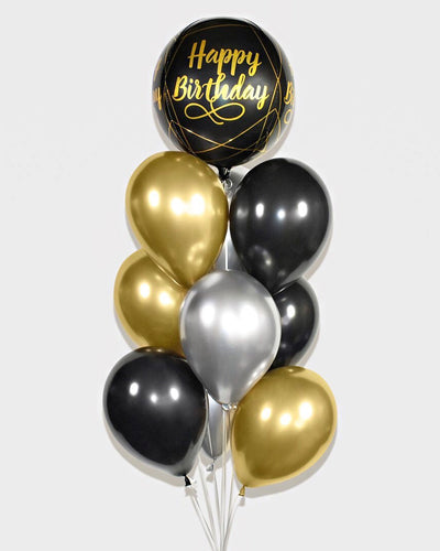 Happy Birthday Balloon Bouquet - Chrome Gold, Black, Silver