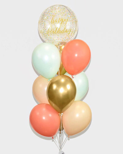 Happy Birthday Balloon Bouquet - Mint, Coral, Blush Nude, Chrome Gold