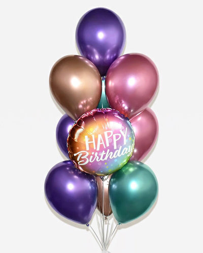 Happy Birthday Balloon Bouquet - Mixed Chrome Color