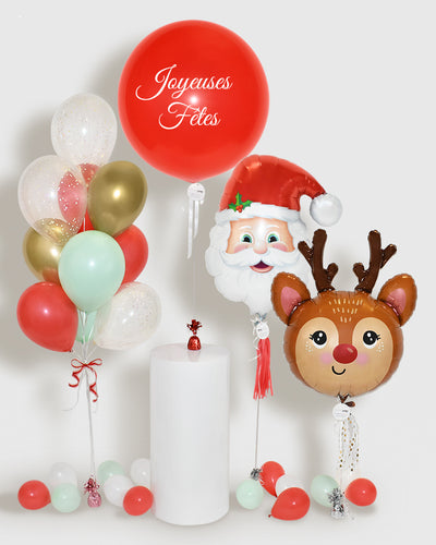 Holiday Balloons, Balloon Bouquet and Personalized Jumbo Balloon - Mint, Red, Gold, White