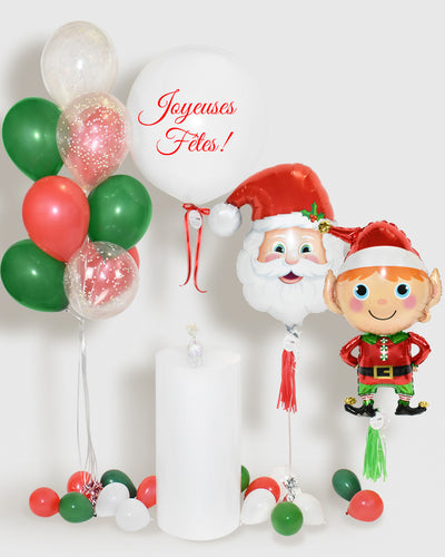 Holiday Balloons, Balloon Bouquet and Personalized Jumbo Balloon - Red, Green, White