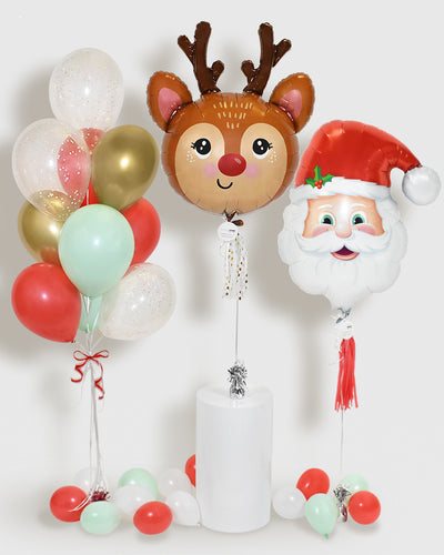 Holiday Balloons and Confetti Balloon Bouquet  - Mint, Red, Gold, White