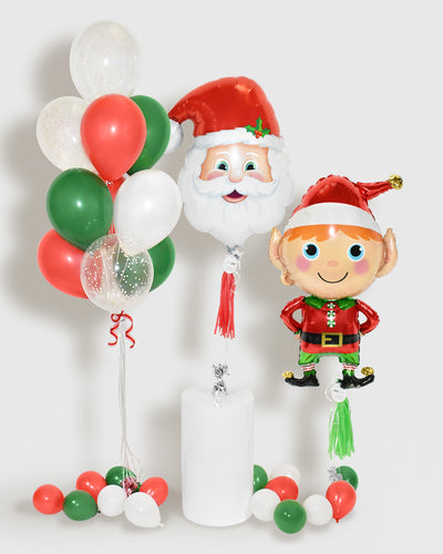 Holiday Balloons and Confetti Balloon Bouquet  - Red, Green, White