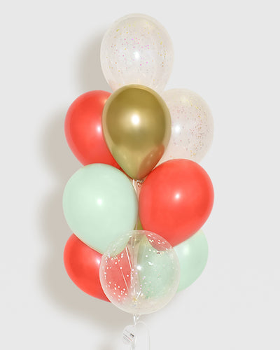 Holiday Confetti Balloon Bouquet - Mint, Red, Gold, White