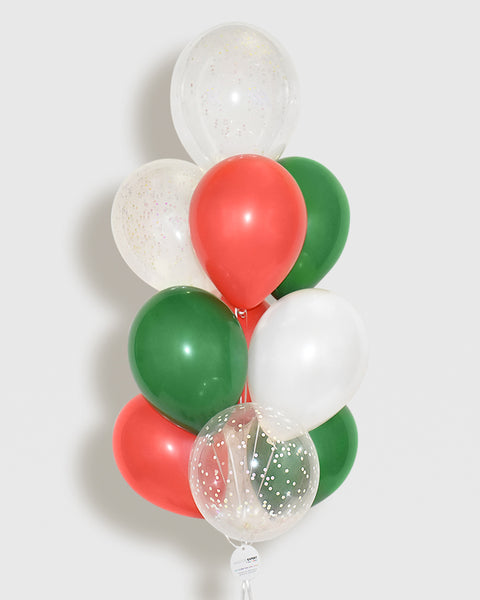 Holiday Confetti Balloon Bouquet - Red, Green, White
