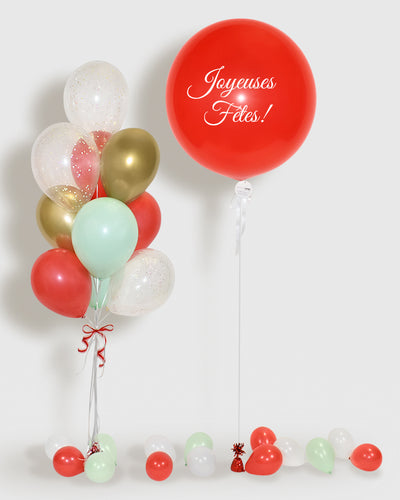 Holiday Confetti Balloon Bouquet and Personalized Jumbo Balloon - Mint, Red, Gold, White