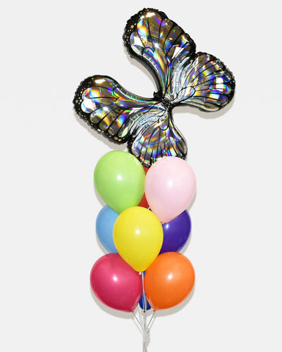 Iridescent Butterfly Balloon Bouquet - Rainbow