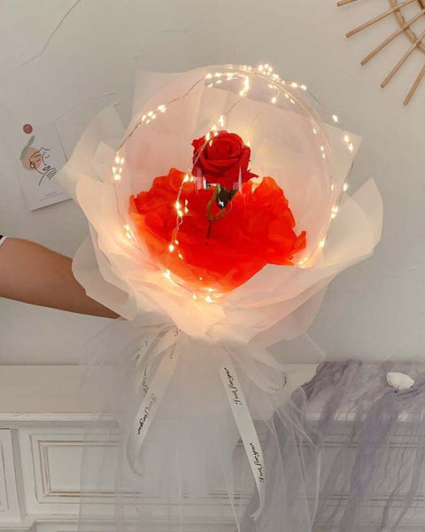 LED Luminous Balloon Rose Bouquet - White