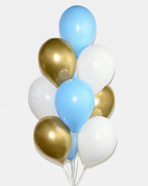 Light Blue, Chrome Gold and White Balloon Bouquet