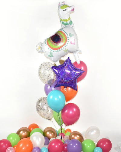 Llama Confetti Balloon Bouquet - Fuchsia, Purple, Turquoise, Orange, Pink