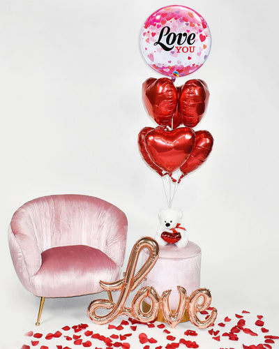 Love you Bubble Balloon with Heart Foil Balloon Bouquet