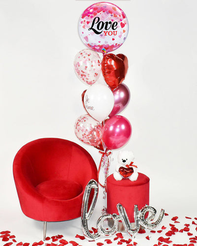 Love you Confetti Balloon Bouquet - Red, White, Pink