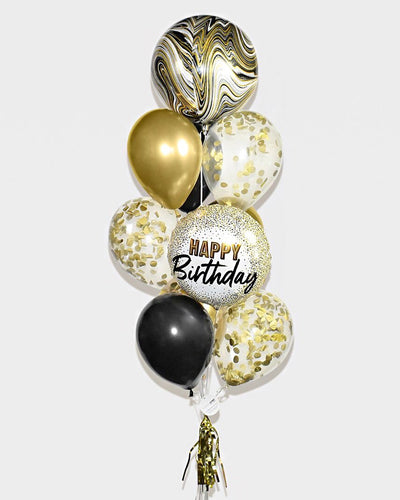 Marble Birthday Confetti Balloon Bouquet - Chrome Gold, Black