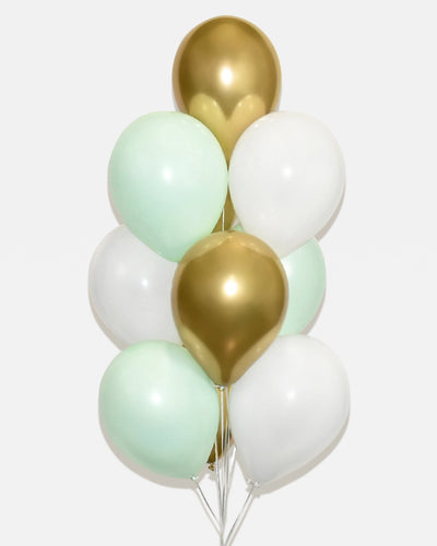 Mint, White and Chrome Gold Balloon Bouquet