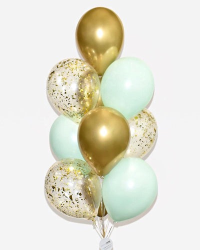 Mint and Gold Confetti Balloon Bouquet