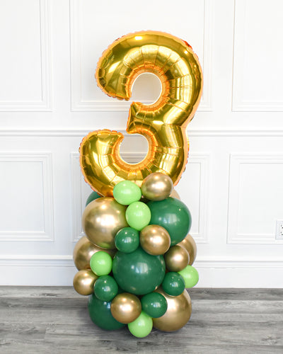 Number Balloon Column - Green, Lime Green, Chrome Gold