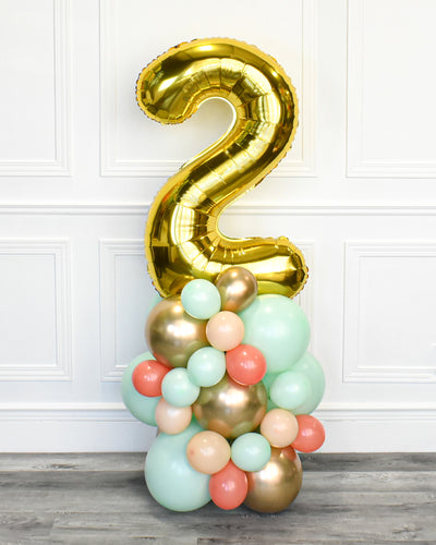 Number Balloon Column - Mint, Coral, Blush, Chrome Gold