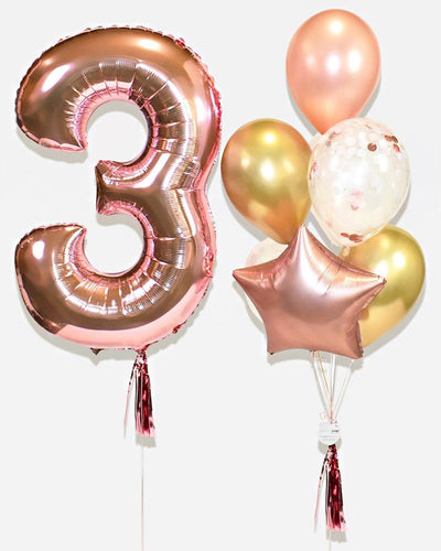 Number Balloon With Confetti Balloon Bouquet - Rose Gold, Chrome Gold