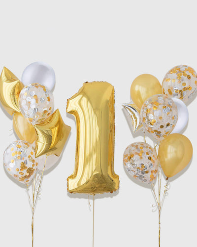 Number Balloon With Confetti Balloon Bouquets - Gold, White