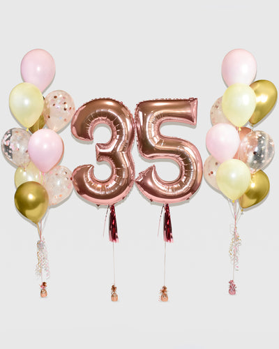 Number Balloon With Confetti Balloon Bouquets - Pink, Chrome Gold, Rose Gold