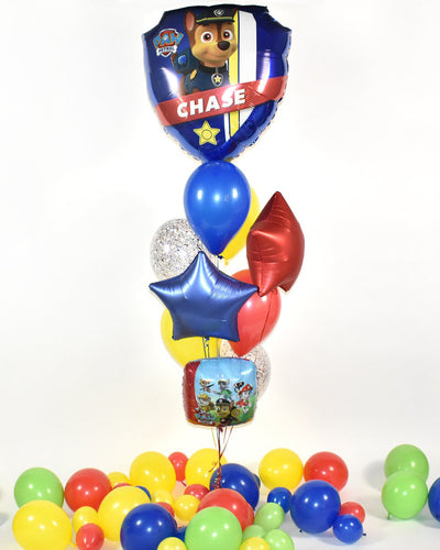 Paw Patrol Confetti Balloon Bouquet - Blue, Red, Yellow