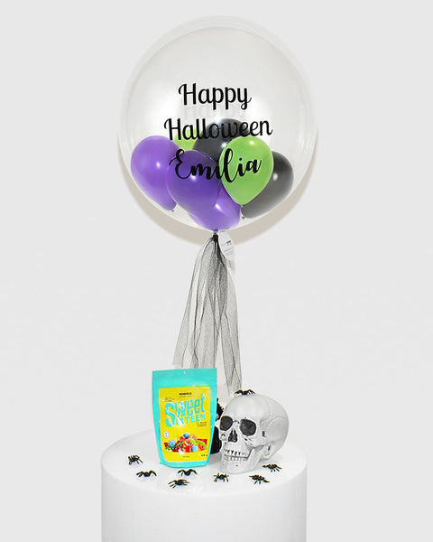 Personalized Bubble Balloon Filled With Purple, Green & Black Balloons